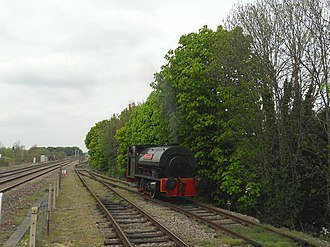 Cholsey and Wallingford Railway - Peckett 0-4-0ST 'Northern Gas Board No. 1' runs round the train at Cholsey