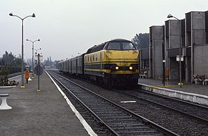 Belgian railway line 58 - A train at Eeklo station in 1987