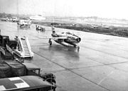 131st Tactical Fighter Wing F-84s on parking apron Toul AB France