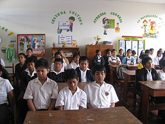 Transcendental Meditation movement - Students in Peru classroom practicing the TM technique