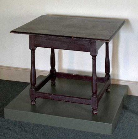In 1688, at this table in Germantown, Philadelphia, Quakers and Mennonites signed a common declaration denouncing slavery 1688 germantown petition table.jpg