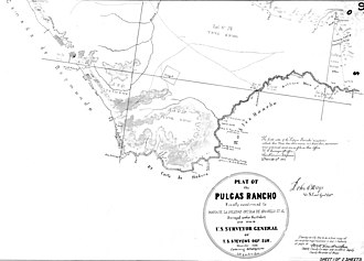 Rancho de las Pulgas - Southern portion of rancho plat of 1856