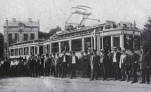 Trams in Bonn - Maiden voyage of the first electrified tram on the Bonn-Godesberg Mehlem line on 24 July 1911.
