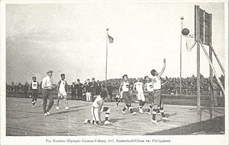Philippines men's national basketball team - The Philippine national team competing against China at the 1917 Far Eastern Games in Tokyo.