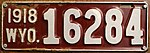 1918 Wyoming License Plate 16284.jpg