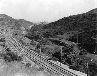 Los Angeles Pacific Railroad - A 1922 view of Cahuenga Pass and the rail lines installed by the Los Angeles Pacific