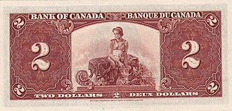 1937 Series (banknotes) - Image: 1937 2 bank of canadaback