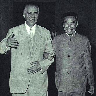 Sino-Albanian split - Enver Hoxha and Zhou Enlai in 1966