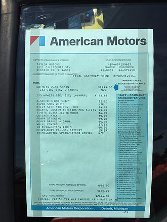 Monroney sticker - An original 1971 American Motors window sticker listing standard and optional equipment