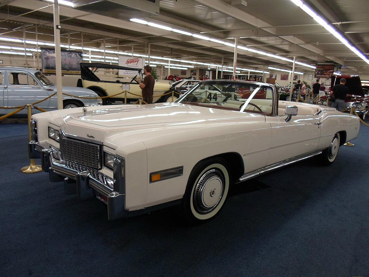 The 1976 Bicentennial Edition of the Cadillac Eldorado is an all-white convertible with red and blue trim. The limited edition car was produced to celebrate America's 200th birthday.