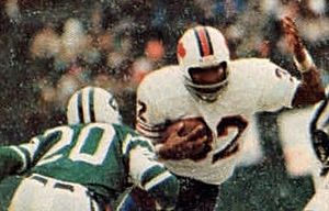 History of the Buffalo Bills - O. J. Simpson, the face of the Bills franchise for most of the 1970s, pictured breaking the NFL's single-season rushing record in 1973.