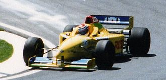 Forti - Andrea Montermini driving the FG01B in its final race, the 1996 San Marino Grand Prix.