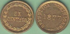 Dominican peso - Image: 1 centavo 1877