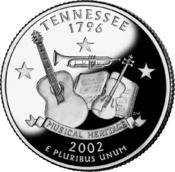 Tennessee quarter dollar coin