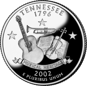 Grand Divisions of Tennessee - Proof image of the Tennessee state quarter issued in 2002 as part of the 50 State Quarters series