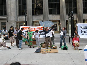 Rainforest Action Network - Rainforest Action Network activists, near Chicago Board of Trade, protest against the expansion of palm oil and soy plantations into critical ecosystems. September 22nd, 2008.