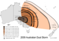 2009 Dust Storm - Australia and New Zealand Map.png