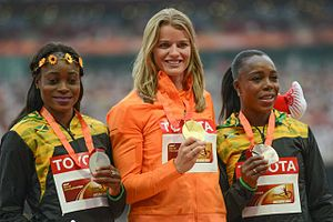 2015 World Championships in Athletics – Women's 200 metres - Medalists L-R: Thompson, Schippers. Campbell-Brown