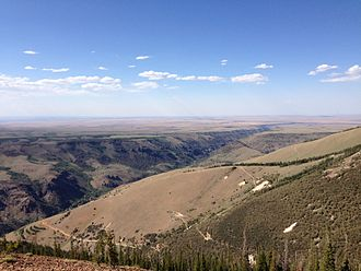 Jarbidge, Nevada - Jarbidge, visible in the lower left of this photo, lies at the bottom of the Jarbidge River Canyon, which stretches 50 miles from the Jarbidge Mountains to the Bruneau River in Idaho