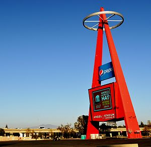 Angel Stadium - The Big A in 2014. The Pepsi sign has since been replaced with a Coca-Cola sign.