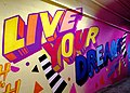 2015 191st Street IRT station tunnel Live Your Dreams.jpg