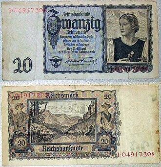 Economy of Nazi Germany - 20 Reichsmark note