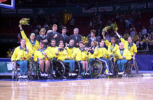 Wheelchair basketball at the 2000 Summer Paralympics - The Australian women's wheelchair basketball team at their silver medal presentation ceremony, 2000 Summer Paralympics