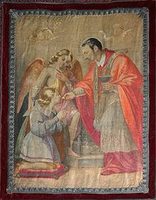 heilige empfängt der Hand wie man in Kommunion