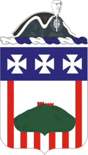 First American Regiment - The 3rd Infantry's coat-of-arms features a tricorn hat to represent its roots in the First American Regiment.