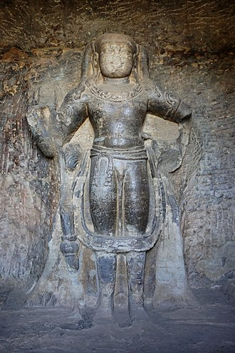 Udayagiri Caves - Skanda (Kartikeya) sculpture in Cave 3.