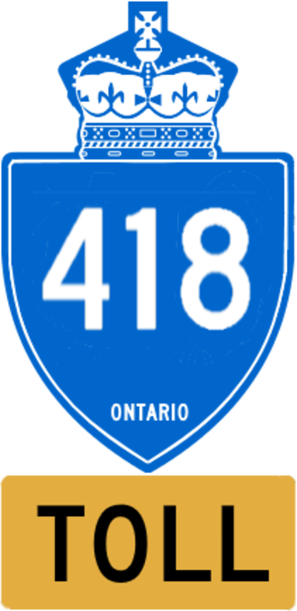 Ontario Highway 418 - Ontario Highway 418 blue shield with toll tab