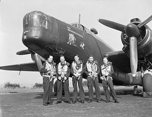 No. 466 Squadron RAAF - The first all-Australian Bomber Command crew to complete a tour of duty in the war, a 466 Squadron Wellington crew at RAF Leconfield, 1943