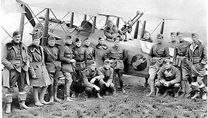 88th Aero Squadron - 88th Aero Squadron members with a squadron Salmson 2A2.  Taken at Bethelainville Aerodrome, France, November, 1918