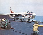 A-7E Corsair II of VA-94 is launched from USS Coral Sea (CVA-43), in 1973.jpg