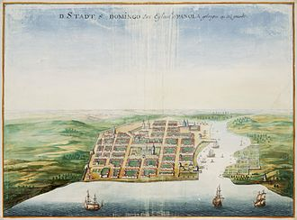 History of the Dominican Republic - Painting by Johannes Vingboons of Santo Domingo, c. 1665