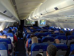 Economy Class cabin onboard an Aerolíneas Arge...