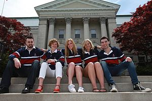 Acadia Students' Union - The ASU Executive during the 2014-2015 academic year. From Left: VP Finance Jalen Sabean, President Callie Lathem, VP Communications Suzanne Gray, VP Programming Chelsey Spinney, and VP Academic Liam Murphy.