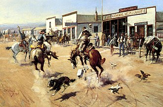 Utica, Montana - A Quiet Day In Utica by C.M. Russell