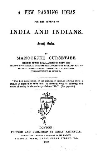 Manockjee Cursetjee - Title page from an 1862 book by Manockjee Cursetjee, published by Emily Faithfull