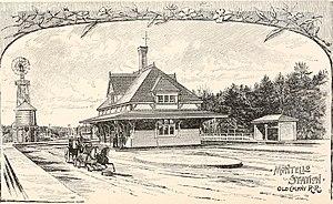 Montello (MBTA station) - 1880s woodcutting of the former Montello station