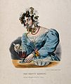 A pretty barmaid mixing a drink in a glass. Coloured lithogr Wellcome V0019579.jpg