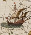 A ship south of Seram Insulae Moluccae celeberrimæ sunt ob Maximamaromatum copiam quam per totum terrarum orbem mittunt.png