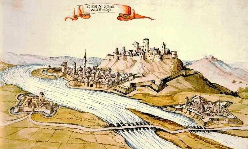 A török kori Esztergom látképe. Vízfestmény, 1664