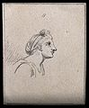 A woman paying mild attention to something. Drawing, c. 1794 Wellcome V0009219EBR.jpg