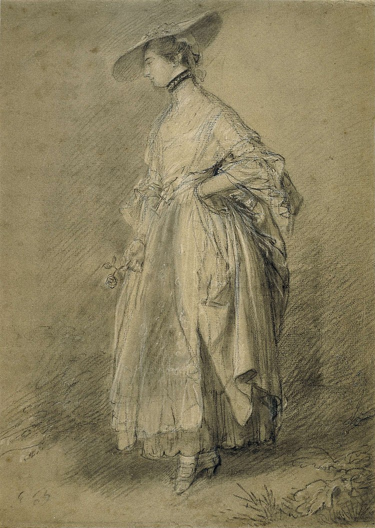 A woman with a rose drawn by Thomas Gainsborough