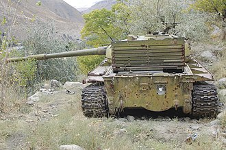 Panjshir offensives - Abandoned Soviet-era T-62 in the Panjshir valley.