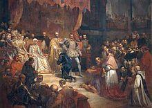 Übertragung der Herrschaft über die Niederlande am 25. Oktober 1555 durch Karl V. an Philipp II. (Gemälde von Louis Gallait, 1841) (Quelle: Wikimedia)
