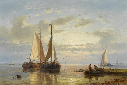 Abraham Hulk - Fishing boats anchored in the shallows at dusk.jpg