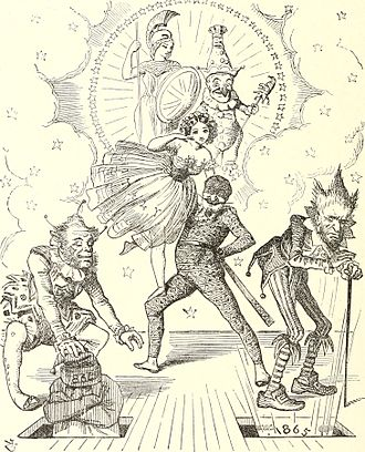 Transformation scene - A transformation scene parody, in a British political cartoon from 1864