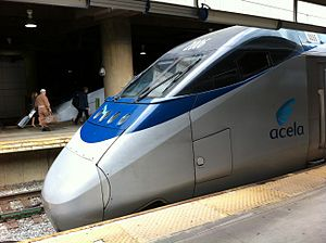 Transportation in Washington, D.C. - An Acela Express just after arriving at Union Station in 2011.
